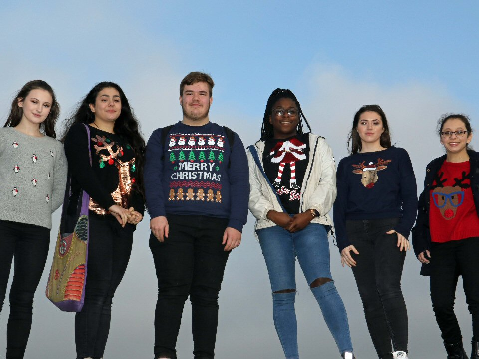 Students swap school uniforms for festive knitwear