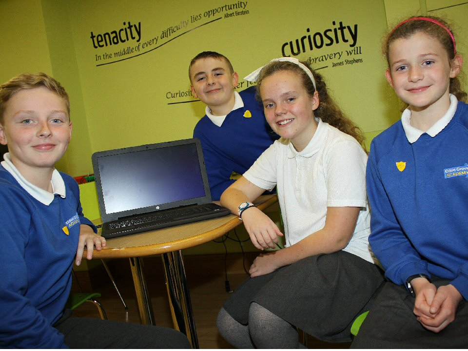 Primary pupils at Eldon Grove Academy go to the polls