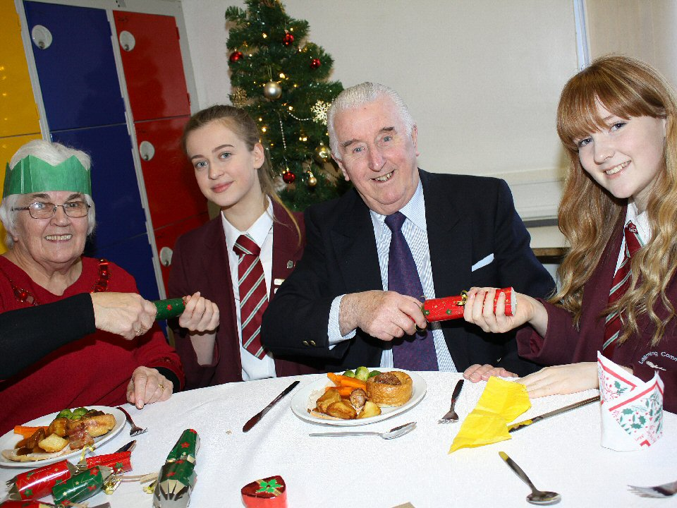 St John's School and Sixth Form College students serve up a seasonal treat