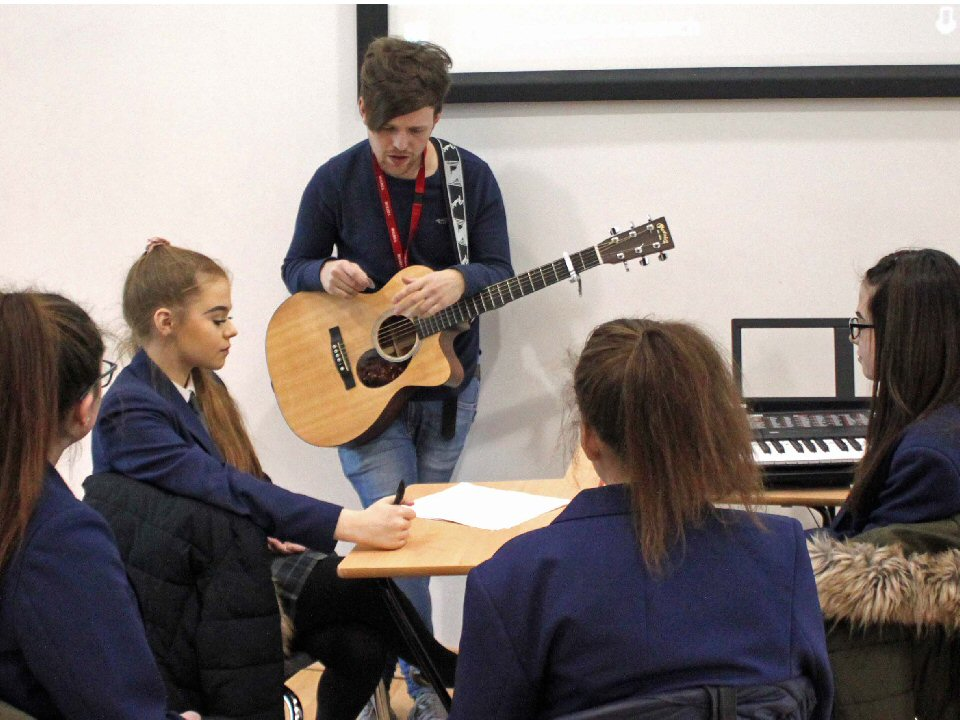 Musicians at South Shield School meet singer songwriter Rich Cottell